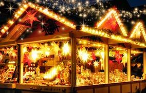 shoppende mensen kerstmarkt